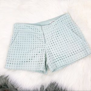 Club Monaco pistachio cream eyelet shorts 00